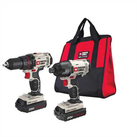 PORTER-CABLE 2-Tool 20-Volt Max Lithium Ion Cordless Combo Kit with Soft Case (PO-PCCK604L2)