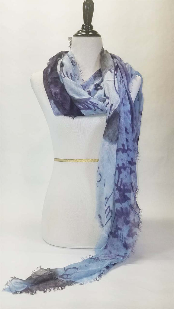 Blue Pacific Love Silk and Cashmere Scarf