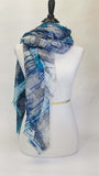 Blue Pacific Waves Silk and Cashmere Scarf