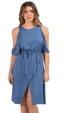Elan Cold Shoulder Faux Wrap Dress