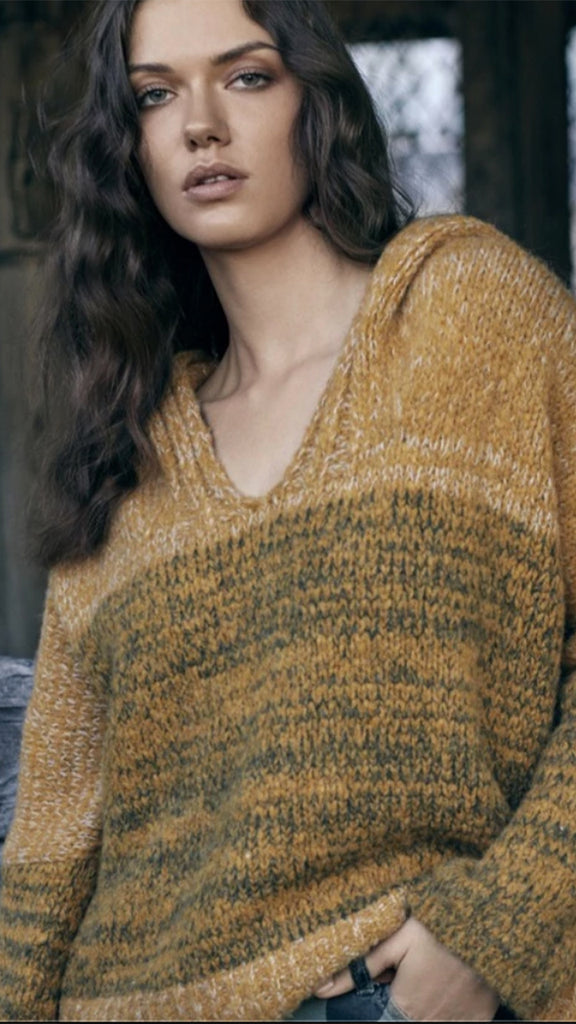 Elan Hooded Cable Knit Sweater