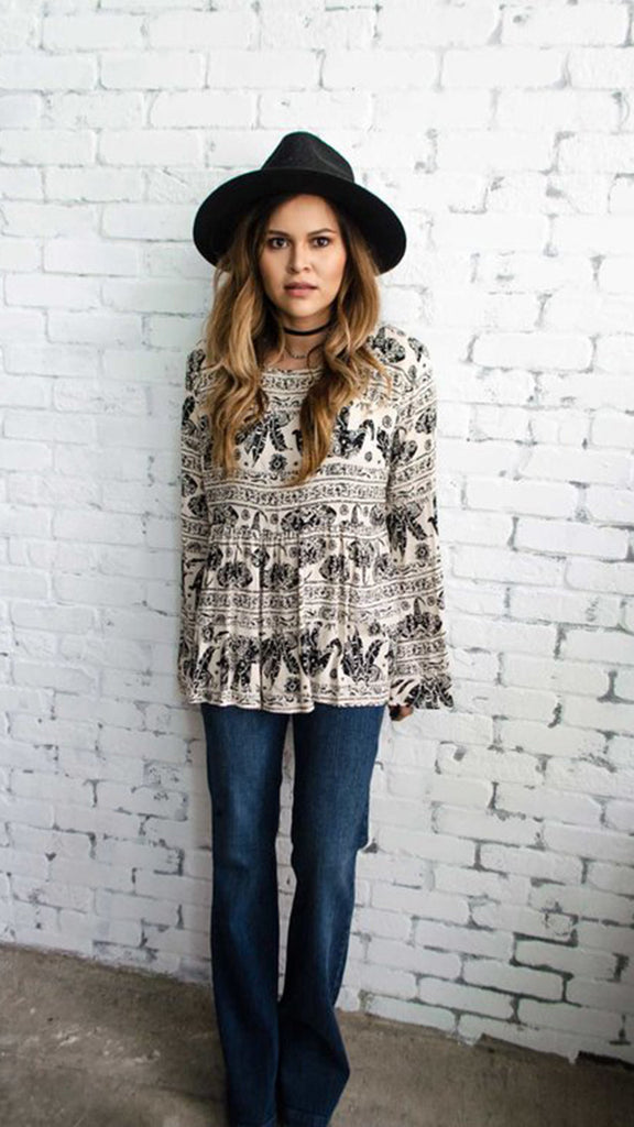 Long Sleeve Elephant Print Top