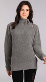 Raglan Sleeve Mock Turtleneck Sweater