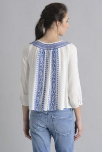 Patrons of Peace Embroidered White Peasant Top