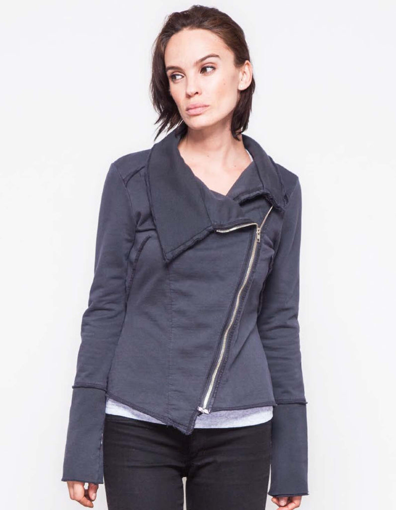 Akan Jacket - organic cotton jacket with asymmetrical zipper. Sustainable fashion, made in Los Angeles.