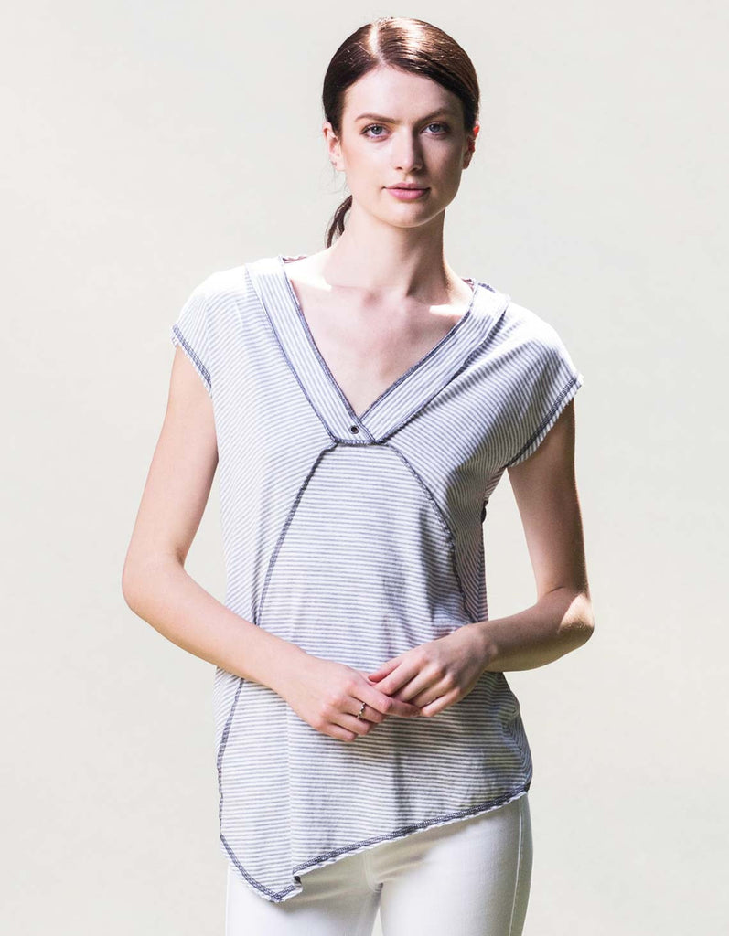 White v-neck organic cotton t-shirt by raw earth wild sky.