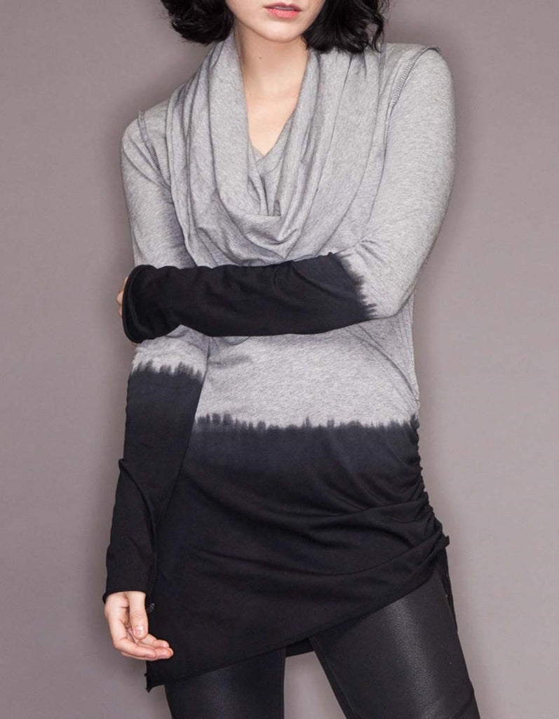 Dip-Dye Vortex Cowl Tunic/Mini