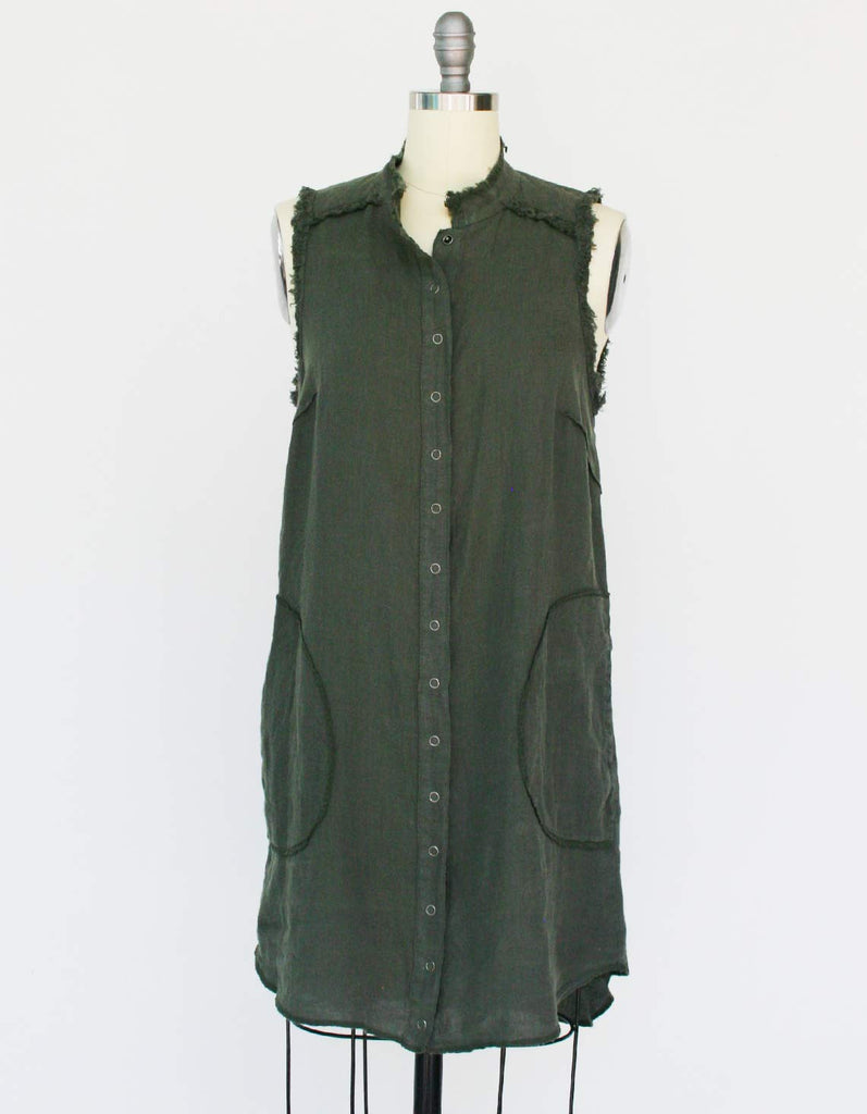 Green linen shirt dress made with organic linen.