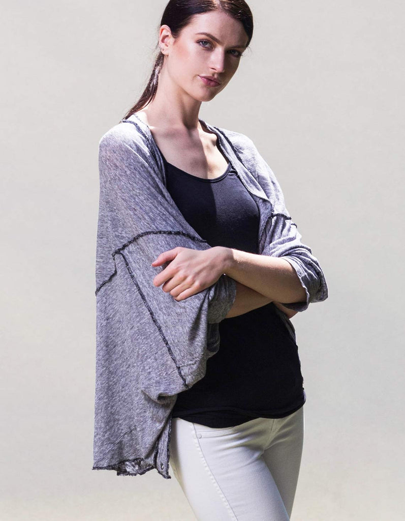 Gray Organic Linen shrug cardigan made in the USA by raw earth wild sky.