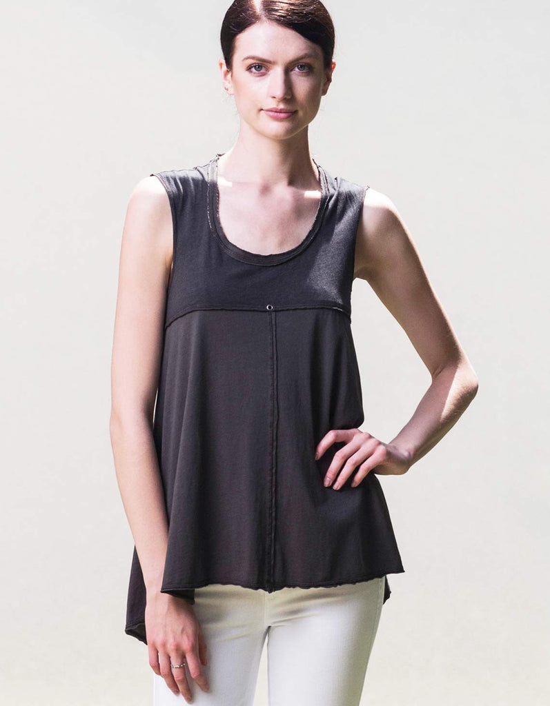 Organic cotton tank top made in the USA by Raw Earth Wild Sky. Flowey style women's tank.