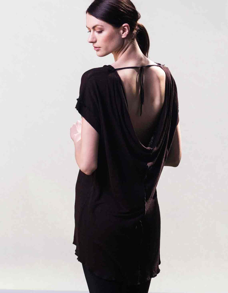 Open back organic linen top made by Raw Earth Wild Sky in Los Angeles.