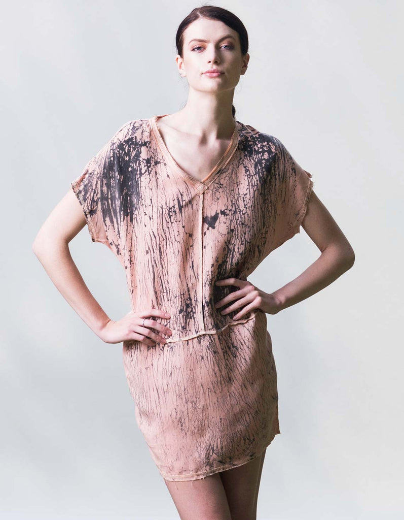Silk alternative eco-fashion dress made from cupro cotton fabric in Los Angeles.
