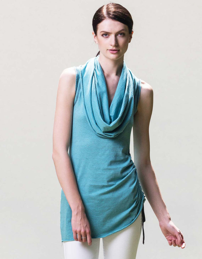Blue micro-striped cowl tank in organic cotton, made in the USA.