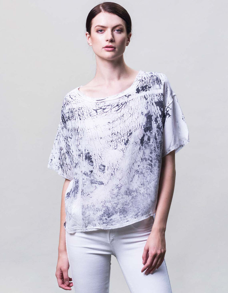 Silk alternative crinkle dye shirt made in the USA.