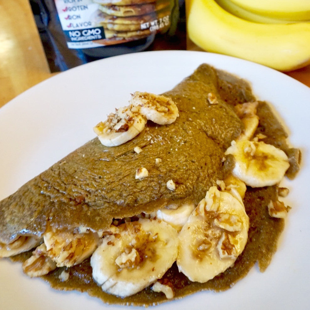 banana crepe made with hemp based pancake mix