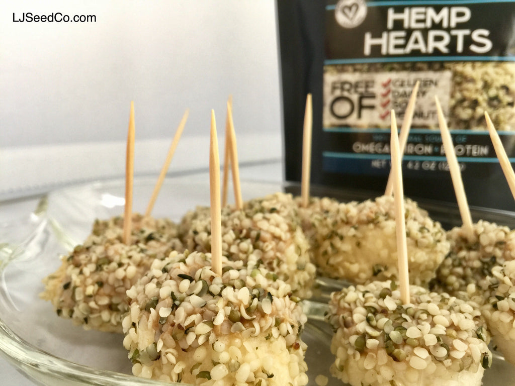 skewered banana bites with hemp hearts
