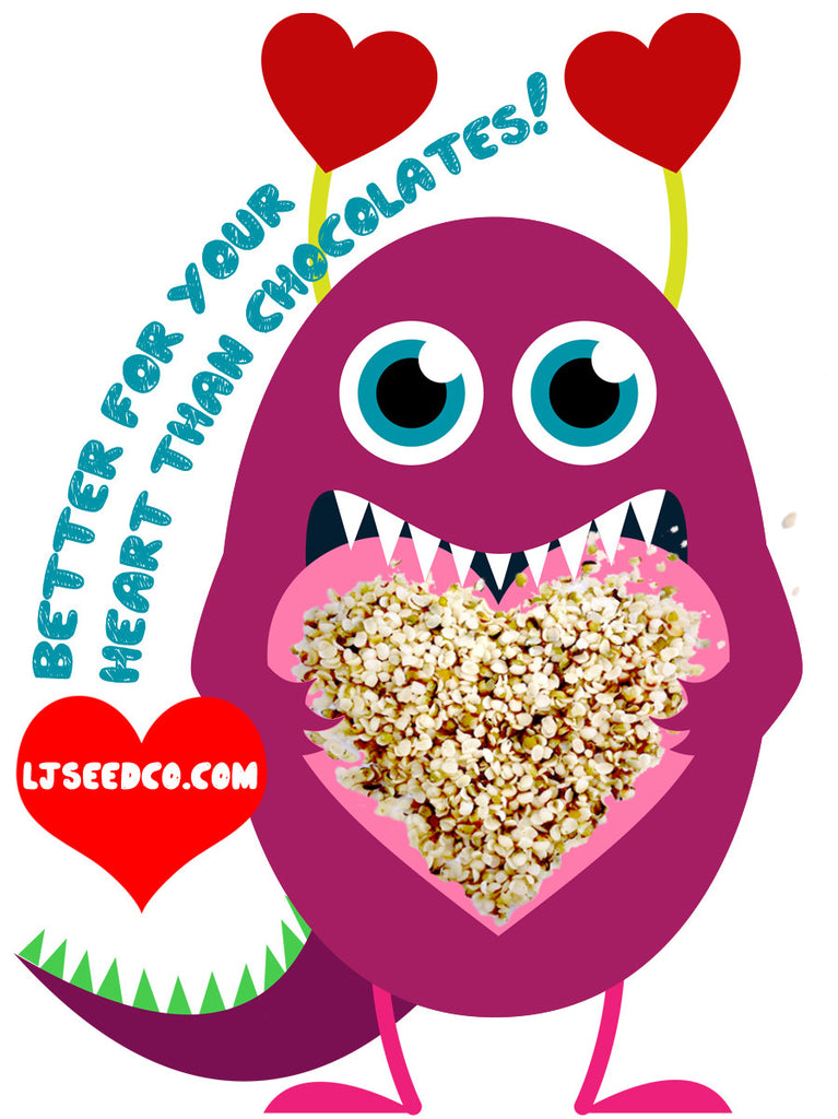 Valentines Day monster eating hemp seeds