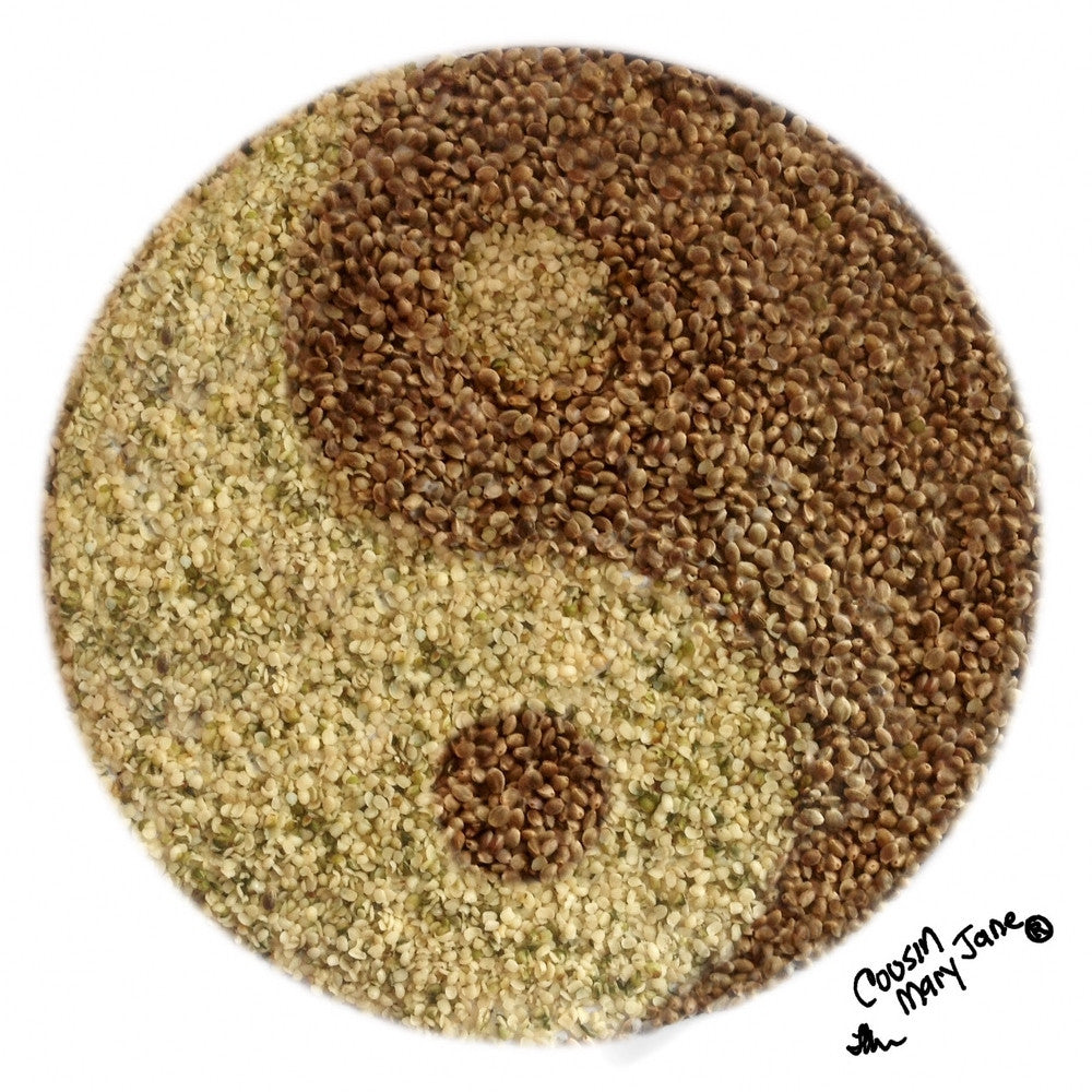 ying yang sign made out of hemp seeds and hearts