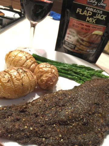 Pan Fried Catfish with asparagus, potatoes, and Lady Lanes Flap Jack Mix