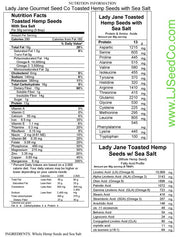 (1lb Bag) TOASTED HEMP SEEDS w/ SEA SALT-Hemp Food Products-ladyjaneseedco-Lady Jane Gourmet Seed Company