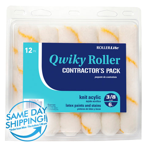 "Qwiky Roller™ -6"" x 3/8"" -Mini Roller Refills -(12-Pack) - Acrylic Knit (Gold Stripe - Wrap Around)"