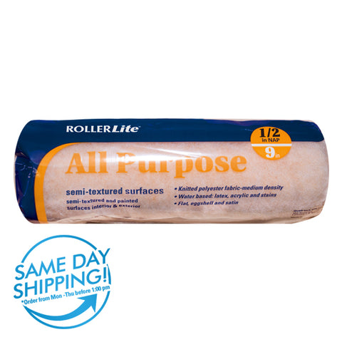 "All Purpose™ - 9"" x 1/2"" - Standard Roller Cover - 100% Polyester Knit"