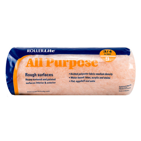 "All Purpose™ - 9"" x 3/4"" - Standard Roller Cover - 100% Polyester Knit"