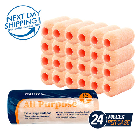"All Purpose™ - 9"" x 1 1/4"" - Standard Roller Cover - 100% Polyester Knit"
