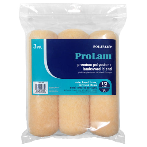 "ProLam™ - 9"" x 1/2"" - Standard Roller Cover (3-Pack) - Lambswool, Polyester and Acrylic Blend"