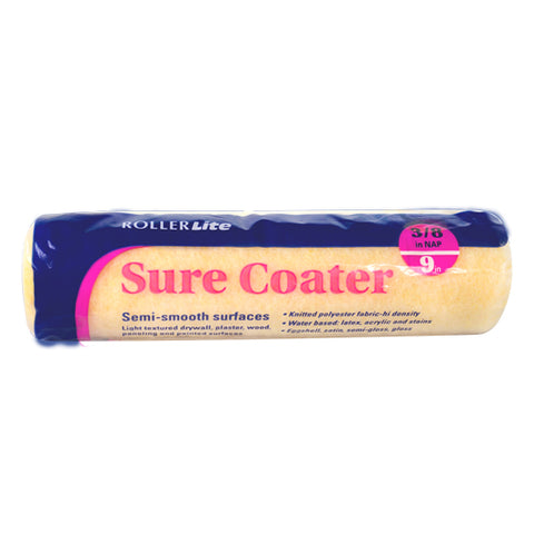 "Sure Coater™ - 9"" x 3/8"" - Standard Roller Cover - High-Density Polyester Knit"