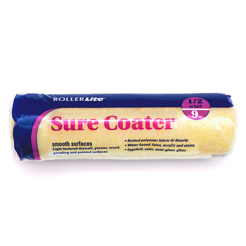 "Sure Coater™ - 9"" x 1/2"" - Standard Roller Cover - High-Density Polyester Knit"