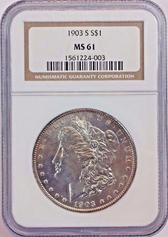 1903-S $1 Morgan Silver Dollar - NGC MS61 - Rare Key Date San Francisco Mint Coin