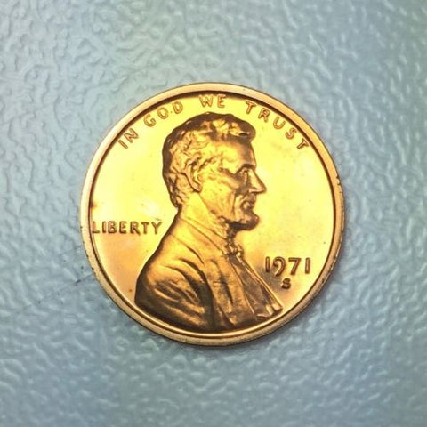1971 S 1c Proof Lincoln Memorial Cent Yearly Proof Presentation Strike Coin