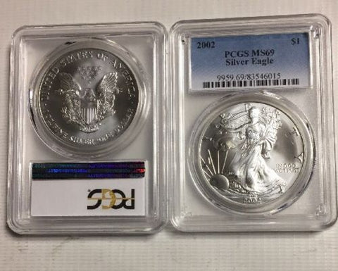 2002 ASE $1 PCGS MS69 - American Silver Eagle - Certified Near Perfect Grade