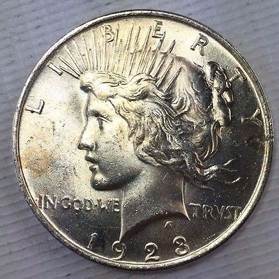 1923 $1 Peace Silver Dollar - Bright and Lustrous - Uncirculated Coin 1115-163
