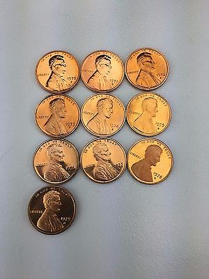 1970 - 1979 1c 10 Coin date run of Proof Lincoln Memorial Cents Large date + T1