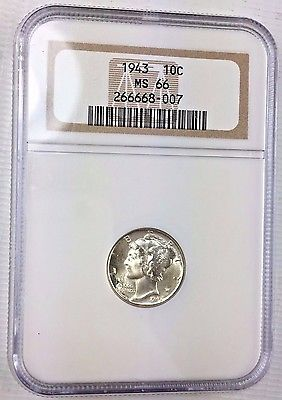1943 10C Mercury  NGC MS66 - Choice Gem Uncirculated Silver Dime 1111-116