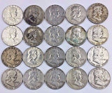 LOT OF 20 - All --> Benjamin Franklin Silver 50c Half Dollar Coins $10 Face 90%