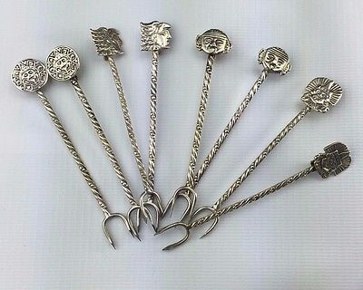 Mexico Sterling Silver Vintage Olive Fork / Pickle Fork Set - 8 Pieces 4 Designs