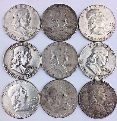 LOT OF 9 - All --> Benjamin Franklin Silver 50c Half Dollar Coins US 90% Bullion