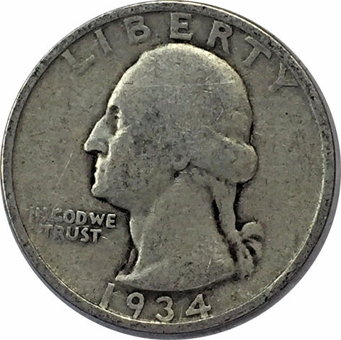 1934 25C Heavy Motto Washington Silver Quarter - Philadelphia Mint 415-52Uo
