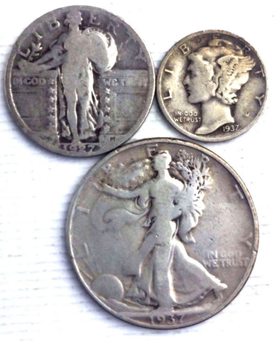 THREE (3) COIN SET - 90% Silver - Walking 50c Standing Liberty 25c Mercury 10c