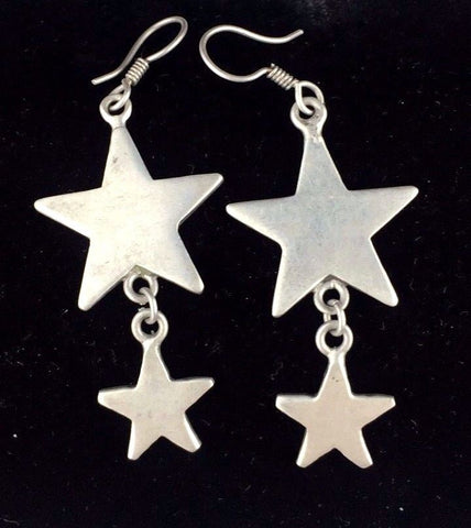 Sterling Silver Earrings - Drop / Dangle Type - Stars / Celestial Design   A10GC