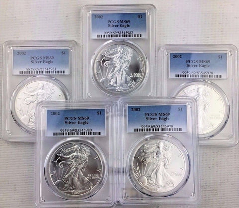 LOT OF 5  -  2002 ASE $1 PCGS MS69 1 oz.  American Silver Eagle - INVESTMENT LOT