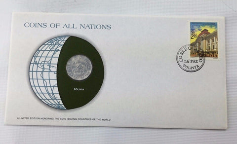 Franklin Mint Coins of all Nations Set - Coin and Stamp Set - BOLIVIA
