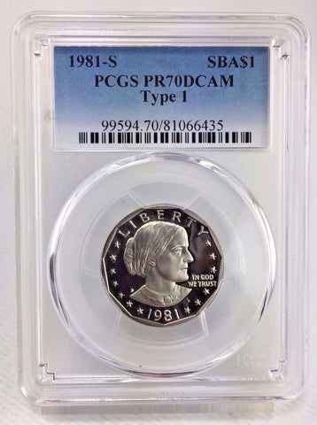 1981-S SBA$1 Type 1 DC (Proof) Susan B. Anthony Dollar - PCGS PR70DCAM - PERFECT