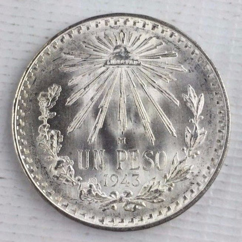 1943 M Mexico Silver One Peso Coin Super Fresh Uncirculated w Frost From BU Roll