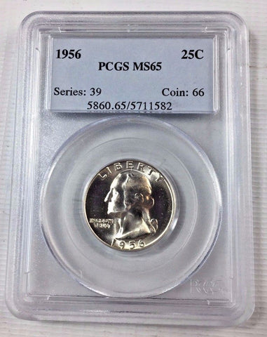 1956 P 25c Washington Silver Quarter - PCGS MS65 - Gem Uncirculated 11176