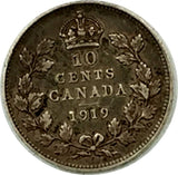 Canada 1918 & 1919 10c 10 Cents Silver Coins - Lot of 2 Coins - Both XF Grade