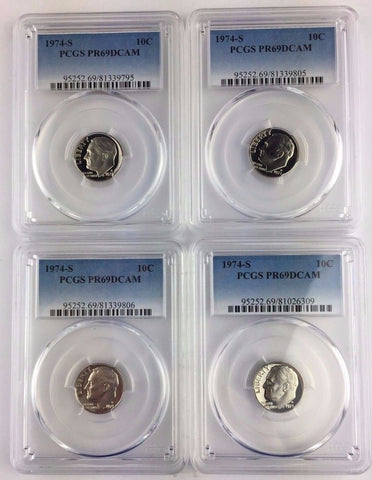 LOT OF 4 COINS - 1974-S 10c PCGS PR69DCAM - Roosevelt Proof Better Date Dime